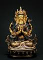 AVALOKITESHVARA (Kharcheri), teilvergoldet, 15 cm